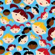 Diversity children faces pattern