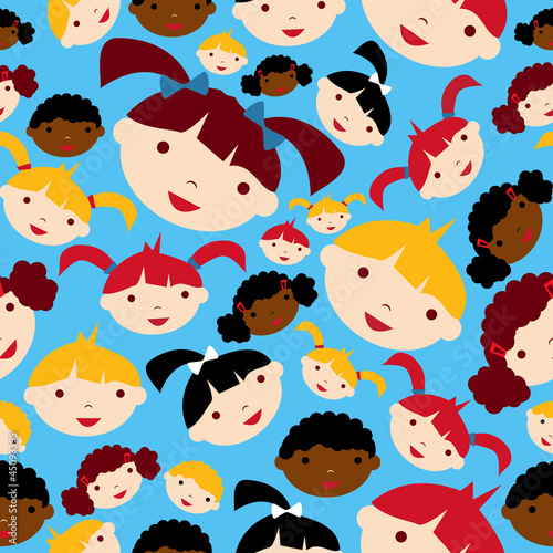 Diversity children faces pattern