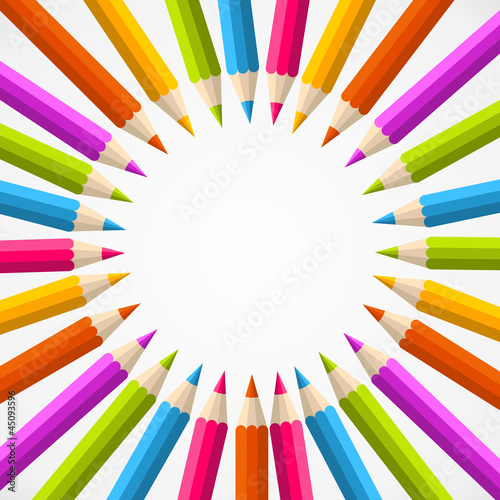 Back to school pencil rainbow circle