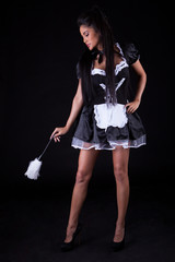 Seductive woman in maids outfit