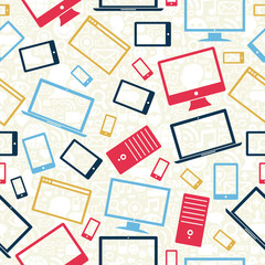 Computer, mobile and tablet icons seamless pattern
