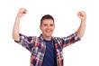 young man cheering