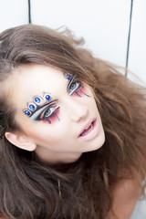 Artistic beauty woman, painted face - body painting