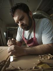USA, Utah, Orem, carpenter at work