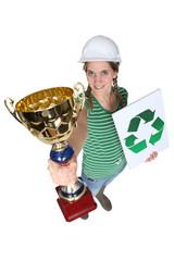Tradeswoman receiving an award