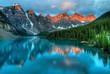 Leinwandbild Motiv Moraine Lake Sunrise Colorful Landscape