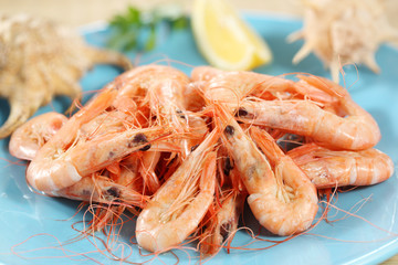 fresh boiled prawns from portuguese coast