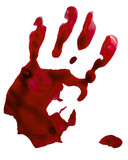Bloody hand stamp. Isolated on white. Clipping path