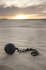 """USA, Utah, Little Sahara, ball in chain on desert"""