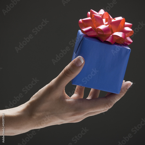 Young woman's hand holding wrapped gift