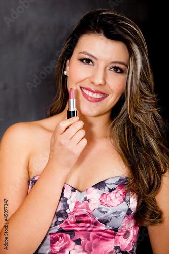 Beautiful woman wearing lipstick