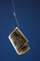 """One US dollar bill on hook, against blue background"""