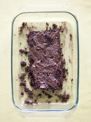 """Chocolate cake, overhead view"""