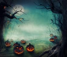 Halloween design - Forêt citrouilles