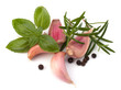 Garlic clove, basil and rosemary leaf