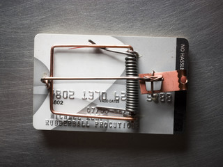 Studio shot of credit card trap