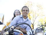 """Provo, USA, Utah, Young couple on motorcycle"""