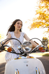 """Provo, USA, Utah, Young woman on motorcycle"""