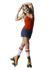 Portrait of young woman roller skating