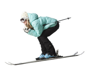 """Young woman skiing, studio shot"""