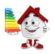 Kleines 3D Haus Rot - Top Energieverbrauch