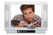 Man behind TV frame