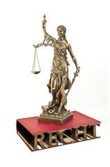 Justitia mit Gesetzbuch und Recht