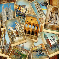 travel in Italy - vintage collage from old cards