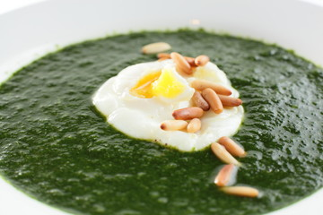 green soup in white dish