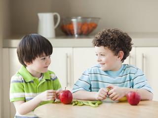 USA, Utah, Two boys (4-5, 6-7) at kitchen table