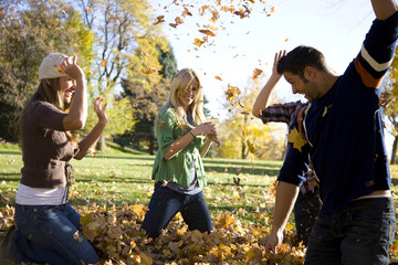 USA, Utah, Provo, Group of friends having fun in park