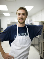 USA, Utah, Salt Lake City, Portrait of chef in bakery