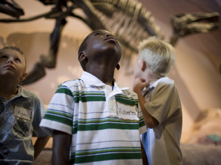 USA, Utah, Lehi, boys (6-9) in museum of dinosaurs