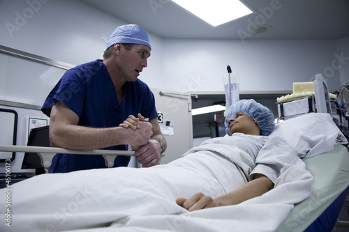 USA, Utah, Payson, Doctor talking to patient before operation