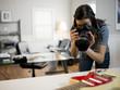 USA, Utah, Orem, Teenage girl (16-17) photographing guitar