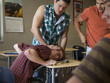 """USA, Utah, Young men bullying teenage boy (16-17) in classroom"""