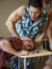 """USA, Utah, Young men bullying teenage boy (16-17) in classroom"""