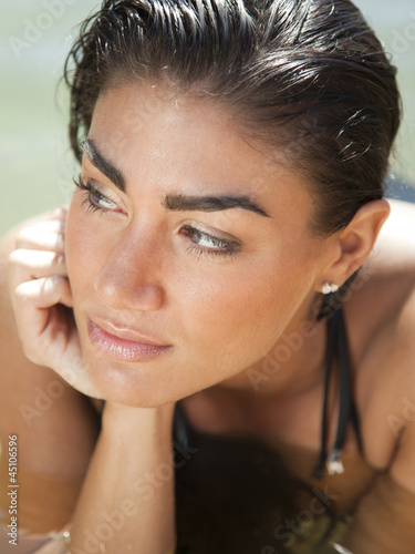 """USA, Utah, Young woman with wet hair in Lake Powell"""