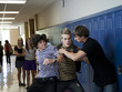 """USA, Utah, Spanish Fork, Three boys (16-17) fighting in school corridor"""