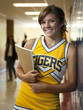 """USA, Utah, Spanish Fork, Portrait of school girl (16-17) holding notepad in corridor"""