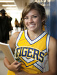 """USA, Utah, Spanish Fork, Portrait of school girl (16-17) holding notepad in corridor"""