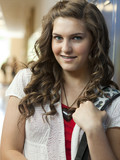 """USA, Utah, Spanish Fork, Portrait of school girl (14-15) in corridor"""