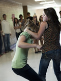 """USA, Utah, Spanish Fork, Two girls (14-17) fighting in school corridor"""