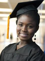 """USA, Utah, Spanish Fork, Portrait of female graduate student (16-17) in corridor"""