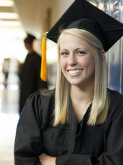 """USA, Utah, Spanish Fork, Portrait of female graduate student (16-17) in corridor"""