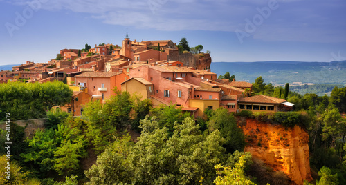 Leinwandbild Motiv Roussillon village sunset view, Provence, France