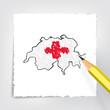 Schweiz Karte Zeichnung