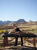 """USA, Utah, Lake Powell, Woman receiving massage """