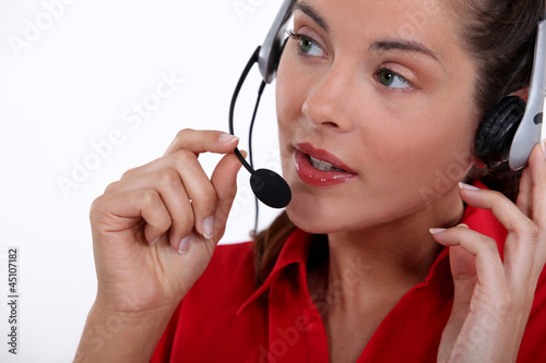 Female call-center worker