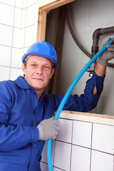 close shot of plumber